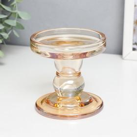 """Подсвечник стекло на 1 свечу """"Подиум"""" карамель 8,5х8,5х8,5 см"""