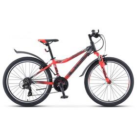 """Велосипед 24"""" Stels Navigator-450 V, V030, цвет чёрный/неоновый/красный размер 13"""""""