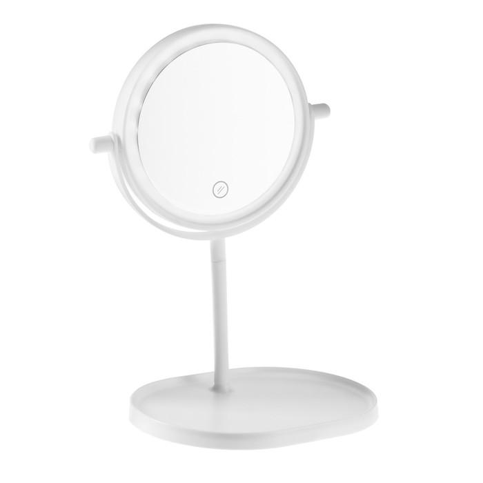 Зеркало LuazON KZ-14, подсветка, настольное, круглое, белое