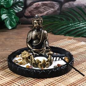 """Сад Дзен """"Будда с лотосом в саду"""" песок белый + свеча 12х18,5х18,5 см"""
