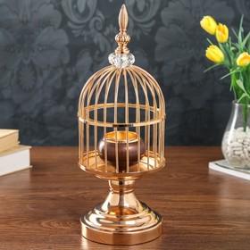 "Подсвечник металл на 1 свечу ""Клетка золотая"" 38х14х14 см"