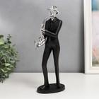 """Сувенир полистоун """"Саксофонист"""" чёрный с серебром 30х6,5х10 см"""