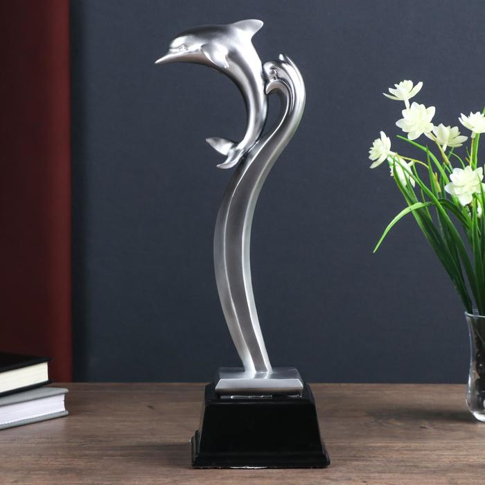 "Сувенир полистоун ""Дельфин"" чёрнённое серебро 30х7х12,5 см"