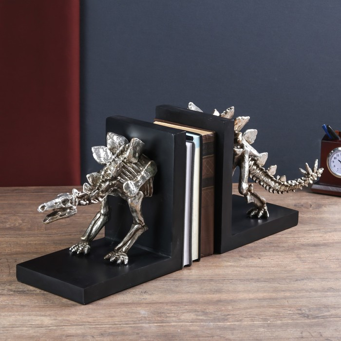 "Держатели для книг ""Скелет динозавра"" набор 2 шт серебро 24х58х15 см"