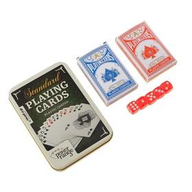 """Карты игральные бумажные """"Poker range"""", 2 колоды по 54 шт, 5 кубиков, 25мкр, 8.8х5.7 см"""