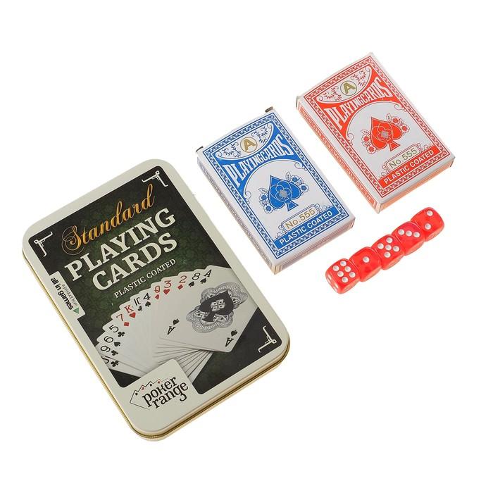 Карты игральные, 2 колоды по 54 шт в мет. коробке, 4 кубика 57х88мм 25мкр