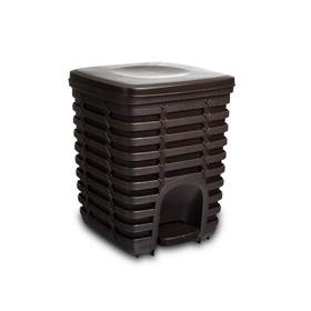 Урна пластиковая с педалью Palm, 9 л, внутренний контейнер, цвет коричневый