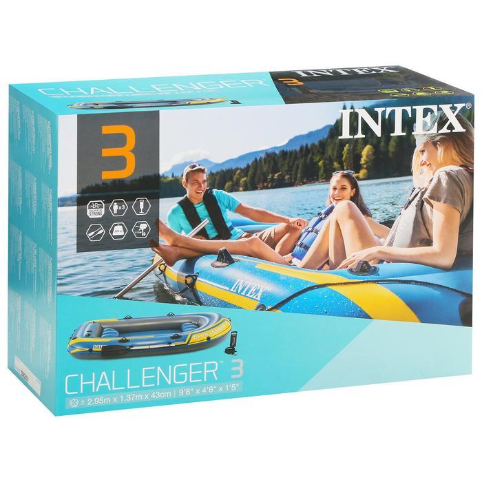 Лодка Challenger 3, 3 местная, 295 х 137 х 43 см, до 255 кг, вёсла, насос, 2 подушки, до 255 кг, 68370NP INTEX