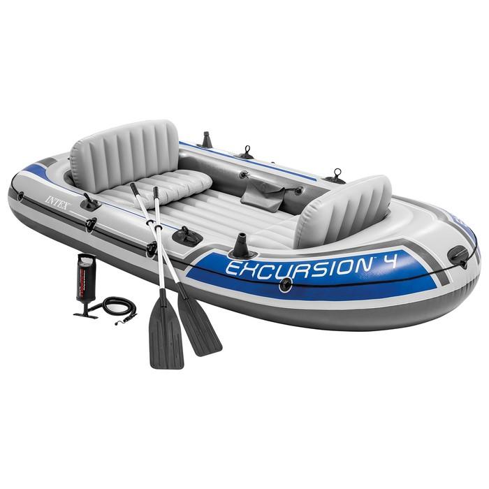 Лодка Excursion 4, 4 местная, 315 х 165 х 43 см, вёсла, насос, до 500 кг, 68324NP INTEX