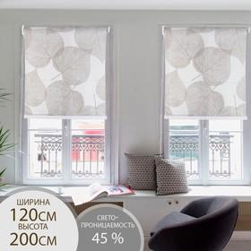 Штора рулонная 3D принт «Листья», 120×200 см (с учётом креплений 3,5 см), цвет коричневый