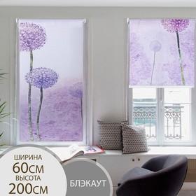 Штора рулонная 3D принт «Цветные одуванчики», 60×200 см (с учётом креплений 3,5 см)