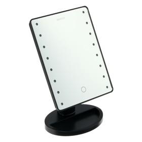 """Зеркало MARTA MT-2654, подсветка, 28x6x19.5 см, 16 светодиодов, 4хАА, цвет """"чёрный жемчуг"""""""