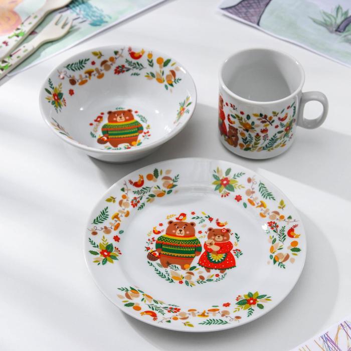 Набор посуды «Мишкины сказки», 3 предмета