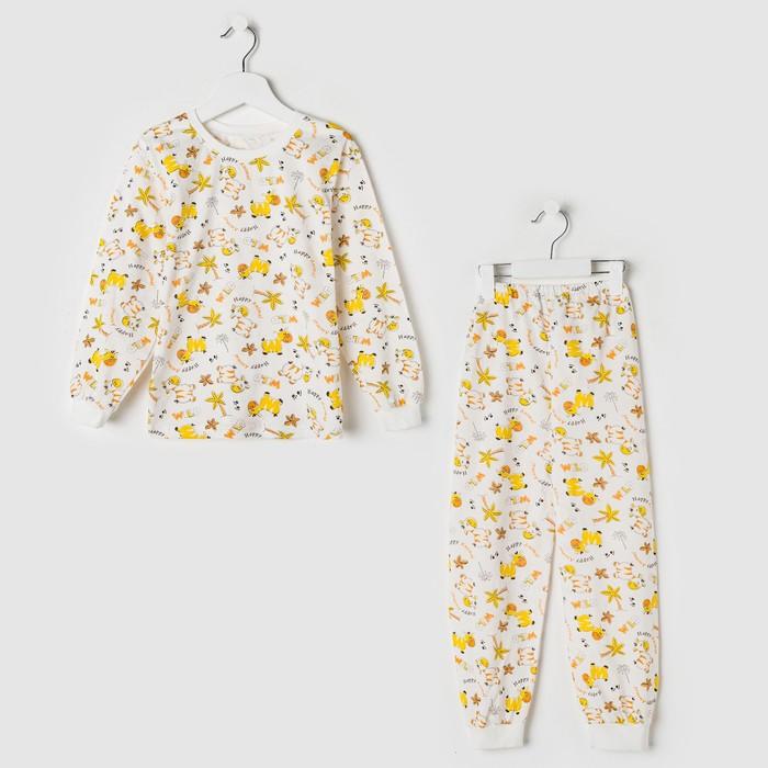 Пижама для девочки, белый/коровы, рост 104 см