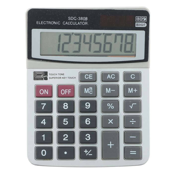 Калькулятор настольный, 8-разрядный, SDC-3808, двойное питание - фото 440950416
