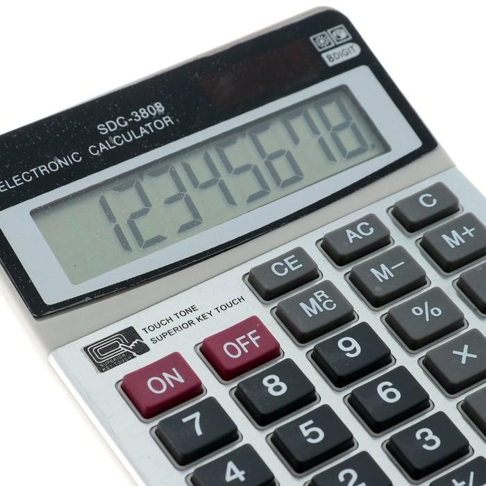 Калькулятор настольный, 8-разрядный, SDC-3808, двойное питание - фото 440950418