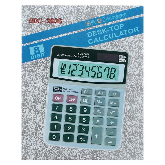 Калькулятор настольный, 8-разрядный, SDC-3808, двойное питание - фото 440950420