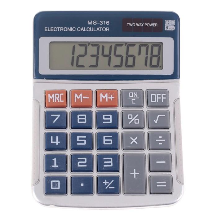 Калькулятор настольный, 8-разрядный, MS-316, двойное питание - фото 664582826