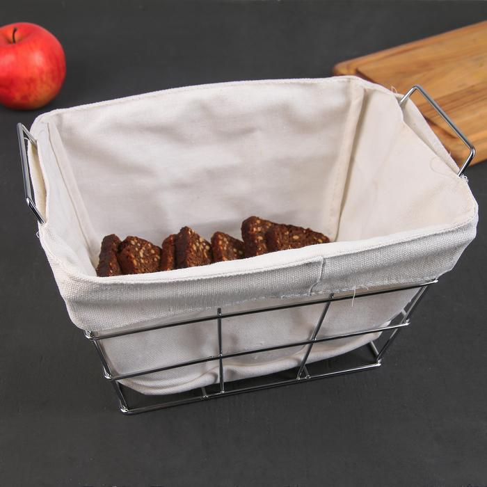 Корзина для хлеба 27.3×25.3×16 см, хром