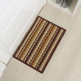 Коврик придверный «Цветная косичка», 38×57 см, цвет коричневый