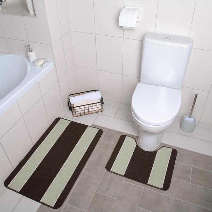 """Set of floor mats for the bath and toilet 2 PCs 48x48, 48х78 cm """"Striped"""" beige-kortney"""