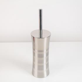 Ёрш для унитаза с подставкой «Лайн», 10,5×10,5×39 см, цвет серебристый