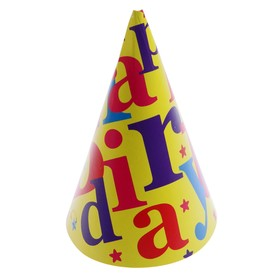 "Праздничный колпак ""Happy Birthday"" жёлтый"