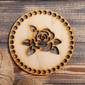 """The bottom for knitting """"Circle, with a rose"""", the billet of plywood, 3 mm, size 15 cm"""