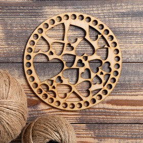 """The bottom crochet """"Circle of hearts"""", the billet of plywood, 3 mm, size 15 cm"""