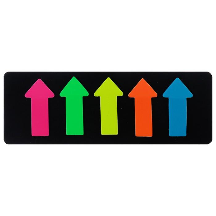 Блок-закладки с липким краем пластик 25л Стрелки 5*15мм*51мм флюор МИКС 5цв