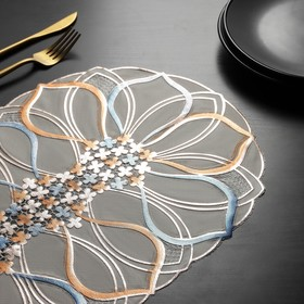 A napkin tracery 45x30 cm Flower color metallic blue-pink