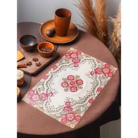 A napkin tracery 45x30 cm forget-me-nots color metallic pink-orange