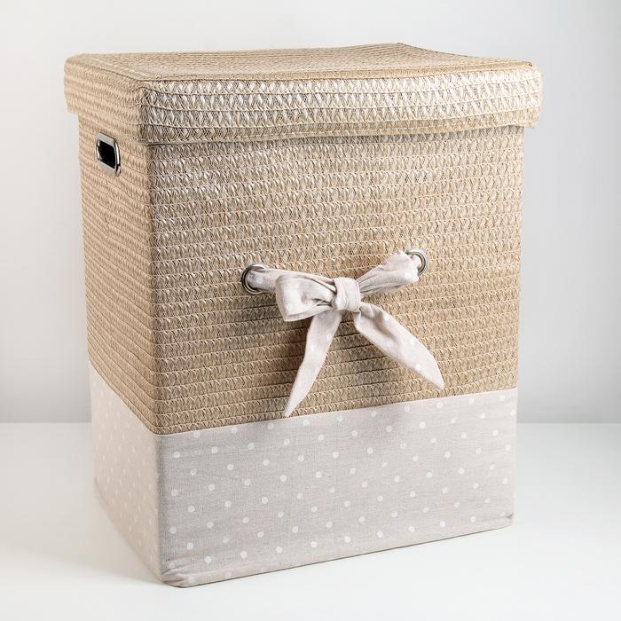 Корзина универсальная плетёная с крышкой «Грей квадро», 42,5×32×50 см, цвет бежевый - фото 4636844
