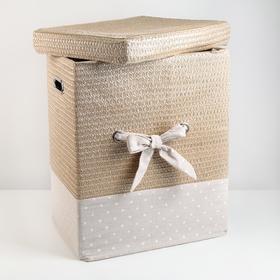 Корзина универсальная плетёная с крышкой «Грей квадро», 42,5×32×50 см, цвет бежевый - фото 4636845