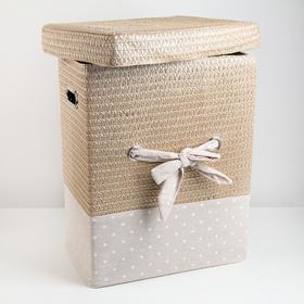 Корзина универсальная плетёная с крышкой «Грей квадро», 38,5×26,5×47 см, цвет бежевый - фото 4636840
