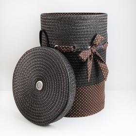 Корзина универсальная плетёная с крышкой «Грей», 40×40×56 см, цвет коричневый - фото 4636830