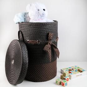 Корзина универсальная плетёная с крышкой «Грей», 40×40×56 см, цвет коричневый - фото 4636831
