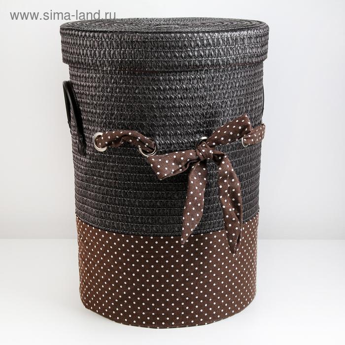 Laundry basket wicker round grey, brown 36,5х36,5х49 cm