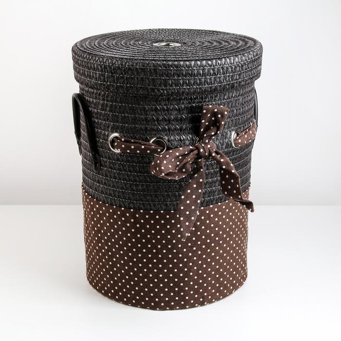 Корзина универсальная плетёная с крышкой «Грей», 32,5×32,5×41,5 см, цвет коричневый - фото 4636819