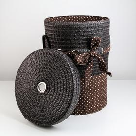 Корзина универсальная плетёная с крышкой «Грей», 32,5×32,5×41,5 см, цвет коричневый - фото 4636820