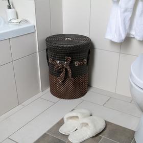 Корзина универсальная плетёная с крышкой «Грей», 32,5×32,5×41,5 см, цвет коричневый - фото 4636822