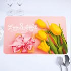 """The napkin on the table, """"the Day of March 8!"""" tulips with gift, 40 x 25 cm"""