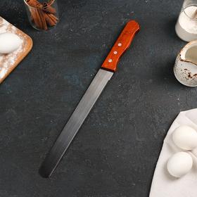 Нож для бисквита мелкие зубцы, рабочая поверхность 25 см, деревянная ручка