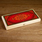 """Backgammon """"Red pattern"""", wood Board 40x40 cm, with the field for a game of checkers"""