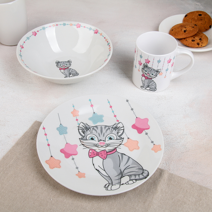 Набор детской посуды «Сёмка», 3 предмета: миска 520 мл, тарелка 19 см, кружка 220 мл