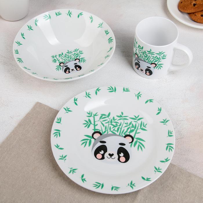 Набор детской посуды «Панда», 3 предмета: миска 520 мл, тарелка 19 см, кружка 220 мл