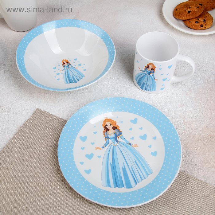 "Children's tableware set 3-piece ""Princess"" bowl 520 ml plate 19 cm, mug 220 ml"