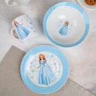 Набор детской посуды «Принцесса», 3 предмета: миска 520 мл, тарелка 19 см, кружка 220 мл - фото 105458186