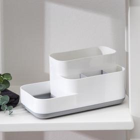 Органайзер для ванной комнаты «Лазурный берег», 24×12×12 см, цвет бело-голубой