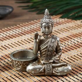 "Нэцке полистоун под серебро подсвечник ""Будда - медитация"" МИКС 10,5х5,3х11 см"
